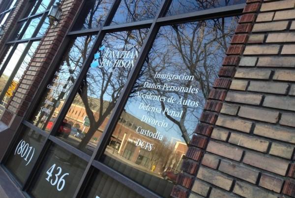 Law office of Jonathan Bachison Logo on window