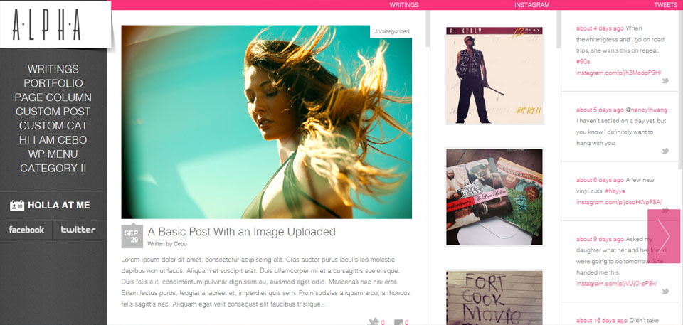 Alpha – Horizontal WordPress HTML 5 Portfolio Theme with Instagram Feed