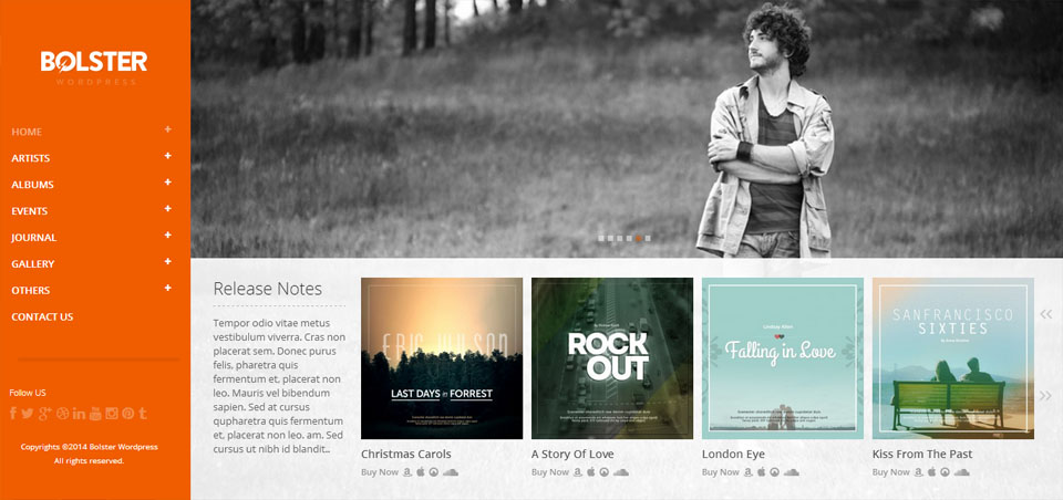 Bolster Music Band WordPress Theme