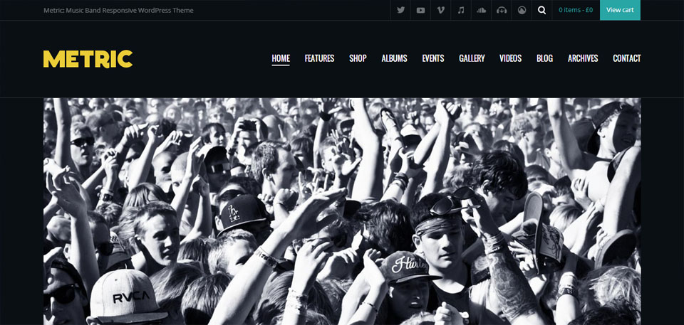 Metric Music Band Responsive WordPress Theme