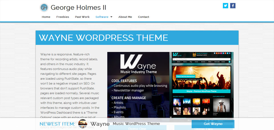 Wayne – Music WordPress Theme