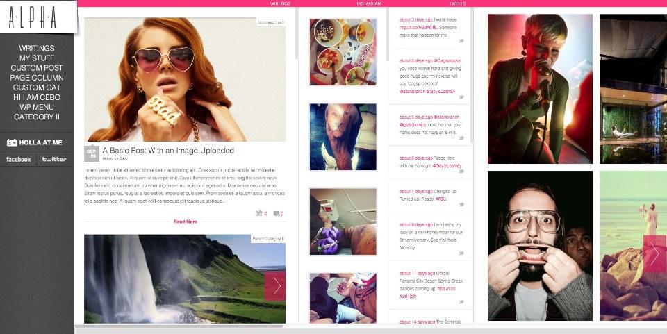 Alpha – Horizontal WordPress HTML 5 Portfolio Theme with Instagram Feed