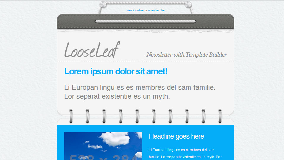 Loose Leaf - Responsive Newsletter with Template Builder