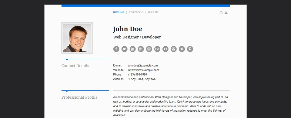 wordpress resume template free download curriculum vitae responsive portfolio theme - Wordpress Resume Template