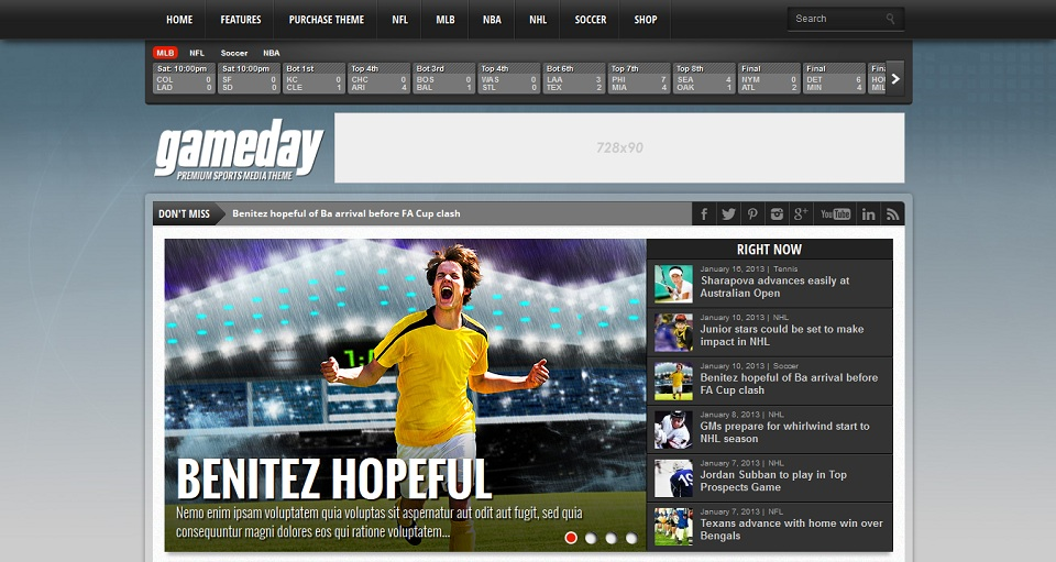 Gameday - Premium Sports Media WordPress Theme