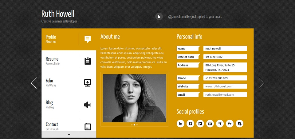 Prestige - Personal vCard WordPress Theme