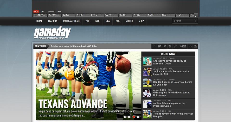 Gameday - Premium Sports Media WordPress Theme